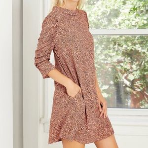 NWT who what wear leopard print flutter 3/4 sleeve